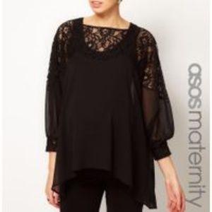 Asos Maternity Black Sheer Laced Neckline Sz 4